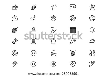 Sewing Line Vector Icons 1 - stock vector