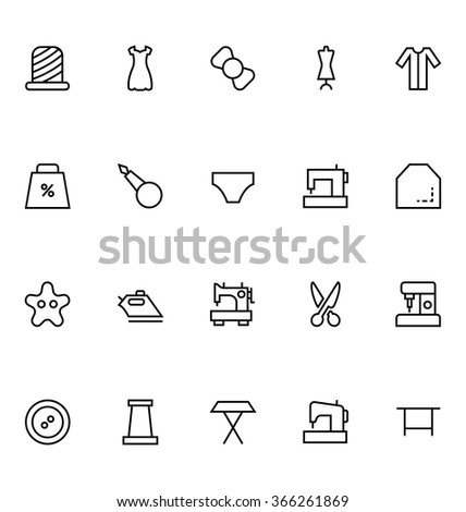 Sewing Line Vector Icons 4 - stock vector