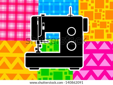 Sewing machine on colorful background