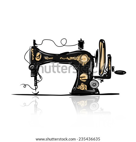 Sewing machine retro sketch for your design, vector illustration - stock vector