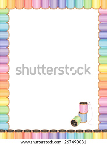 Sewing Needle and Threads Poster Frame, spools of multicolor pastel thread,  embroidery needle, blank letterhead frame, for DIY sewing, tailoring, quilting, crafts, needlework, EPS8 compatible. - stock vector