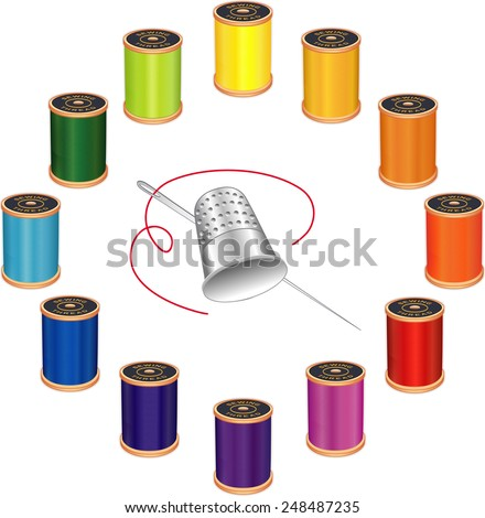 Sewing Needle, Silver Thimble, 12 spools of thread, vivid colors, circle design isolated on white background for do it yourself sewing, tailoring, quilting, crafts, needlework. EPS8 compatible. - stock vector