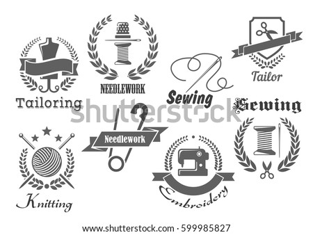 Sewing Tailor Vector Icons Emblems Embroidery Stock Vector 599985827