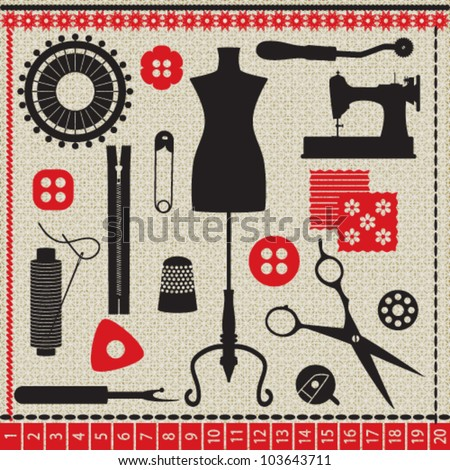 Sewing related elements on white textured background - stock vector