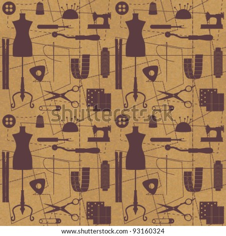 Sewing related seamless background 1 - stock vector
