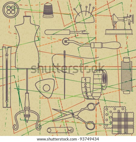 Sewing related seamless background 3 - stock vector