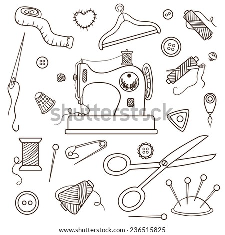 Sewing set. Isolated on white. Vector cartoon illustration. - stock vector