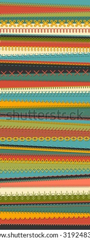 Sewing set on textile background. Set of vector stitch patterns, borders, seams, sewing decorations and dividers. All used pattern brushes included. - stock vector
