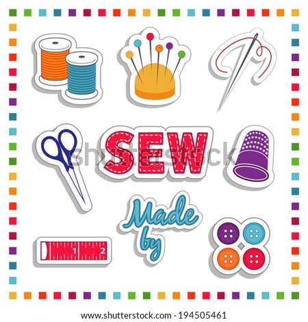 Sewing Stickers for do it yourself fashion tailoring, dressmaking, needlework, crafts: needle, thread, scissors, pincushion, label, thimble, button, tape measure,  rainbow frame, EPS8 compatible. - stock vector