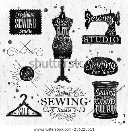Sewing symbol in retro vintage lettering mannequin, coil, pins, hangers, buttons - stock vector
