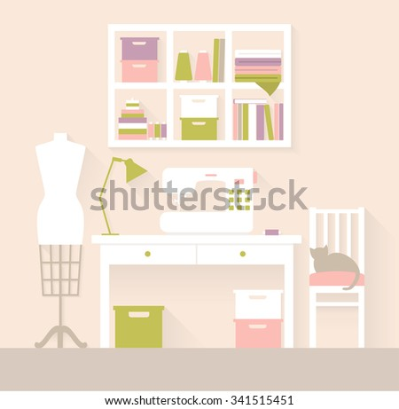 Sewing Workshop - stock vector