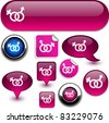 Sex vector glossy icons. - stock vector
