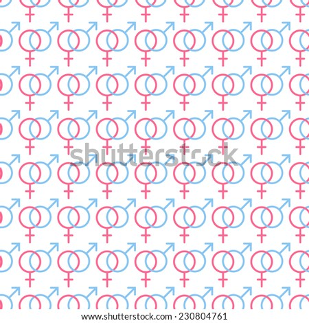 Sexual orientation web icons,symbol,sign in flat style. Gender background. Male and female combination. Vector seamless pattern. - stock vector