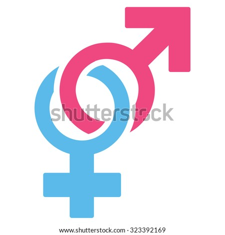 Sexual Symbols vector icon. Style is bicolor flat symbol, pink and blue colors, rounded angles, white background.