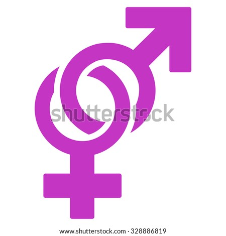 Sexual Symbols vector icon. Style is flat symbol, violet color, rounded angles, white background.