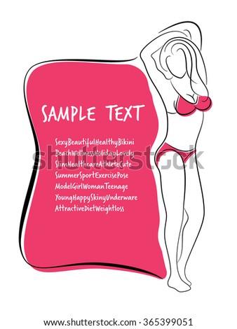 Sexy and Healthy Bikini Girl Full-body Pose in Bikini. - stock vector