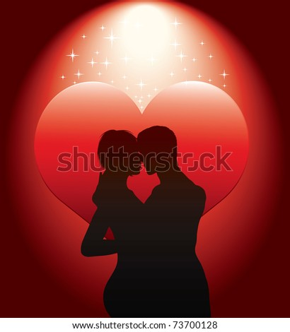sexy couple silhouette with red heart