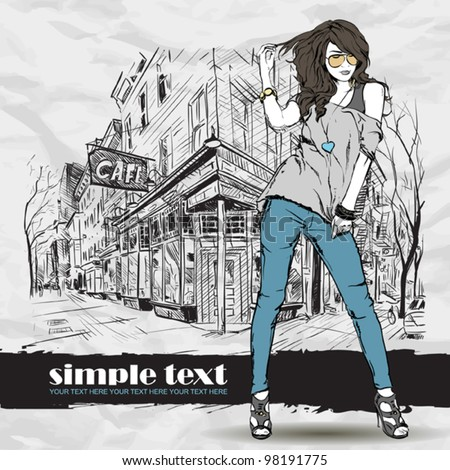 Sexy fashion girl with beret in sketch style on a street-cafe background. Vector illustrator. - stock vector
