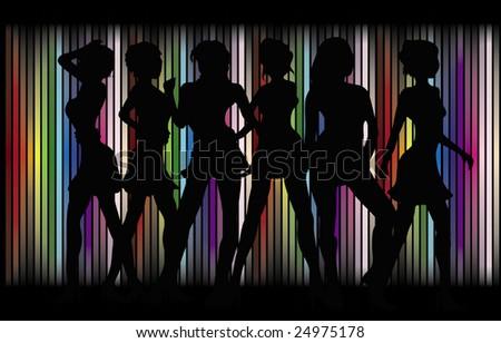 Sexy Girls Disco - stock vector