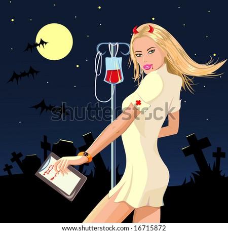 sexy halloween masquerade vampire nurse - stock vector