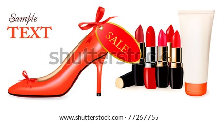 Sexy high heel shoe and group of lipsticks. Vector illustration. - stock vector