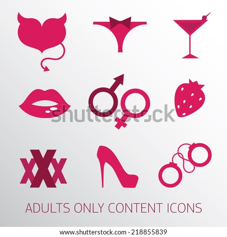 Sexy icons set for adult only content, vector illustration - stock vector