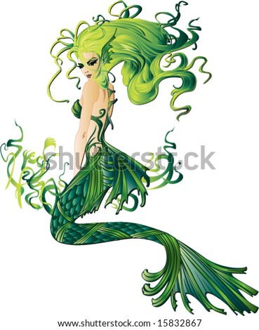 sexy mermaid sitting among seaweed vector illustration background