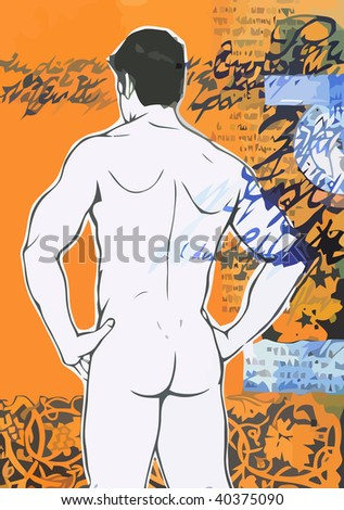 Sexy naked man on grunge background. Vector Image - stock vector