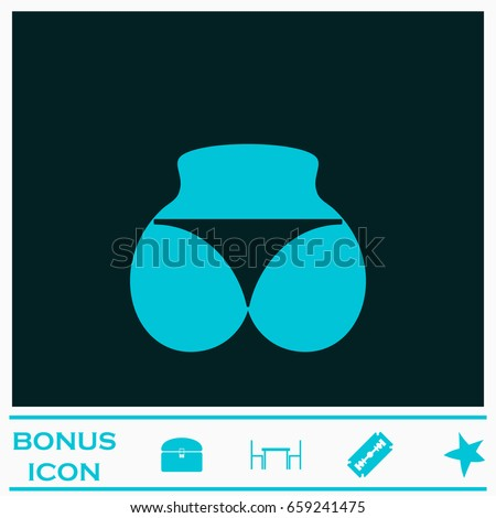 Sexy panties, women ass in a thong icon flat. Blue pictogram on dark background. Vector illustration symbol and bonus icons