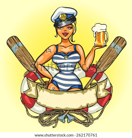 Sexy Pin Up Sailor Girl with cold beer. - stock vector