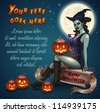 Sexy pin-up witch with pumpkins sitting on scroll with Happy Halloween signature and place for your text - vector illustration. - stock vector