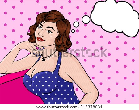 Sexy pop art girl with a thought cloud