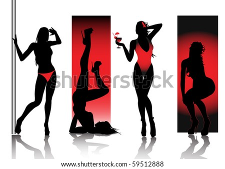 Sexy silhouettes in red - stock vector