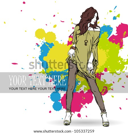 Sexy summer girl in sketch-style on a grunge background. Vector illustration - stock vector