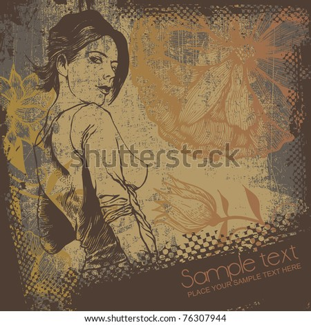 sexy woman and grunge scratched background with engraved flowers. vector illustration. - stock vector