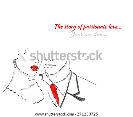 Sexy woman and man, passionate love - stock vector