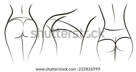 Sexy woman ass, Vector illustration - stock vector