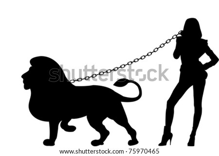 Sexy woman silhouette with a lion - stock vector