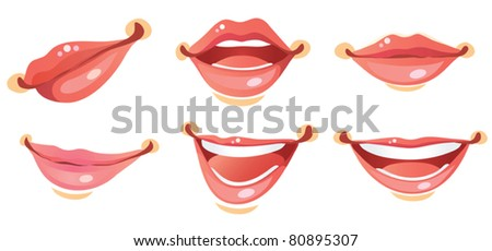 Sexy Woman Smile Lips - stock vector