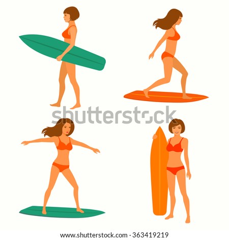 sexy woman surfer, surfing sport, girl with surfboard - stock vector