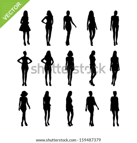 Sexy women and model posing silhouettes vector set 6 - stock vector
