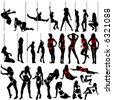 sexy women and striptease vector (clothes detail) - stock vector
