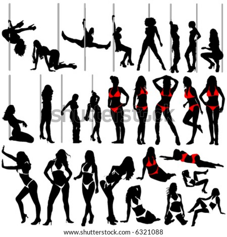 sexy women and striptease vector (clothes detail)