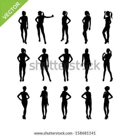 Sexy women silhouettes vector set 3