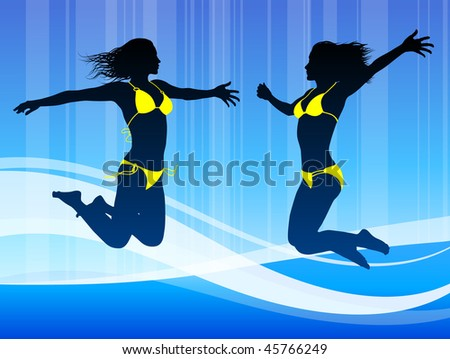 Sexy Young Woman on Abstract Blue Background Original Vector Illustration - stock vector