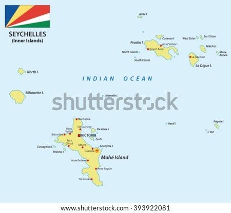 Seychelles map with flag
