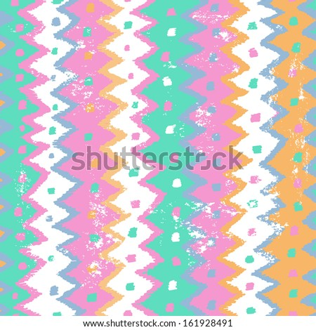 Shabby abstract ethnic seamless pattern in tender pastel tones - stock vector