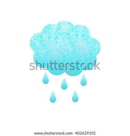Shabby blue colored cloud and rain drops isolated on white background. Logo template, design element - stock vector