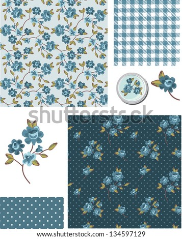 Shabby Chic Blue Rose Vector Seamless Patterns. Use as fills, digital paper, or print off onto fabric to create unique items. - stock vector