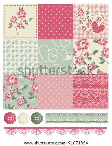 Shabby Chic Country Rose Vector Seamless Patterns.  Use to make quilts, fabric projects or paper crafts. - stock vector